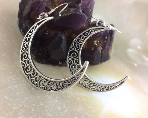 Silver Crescent Moon Boho Earrings