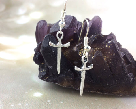 Dagger Sword Charm Earrings
