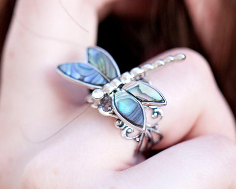 Silver Abalone Shell Dragonfly Ring