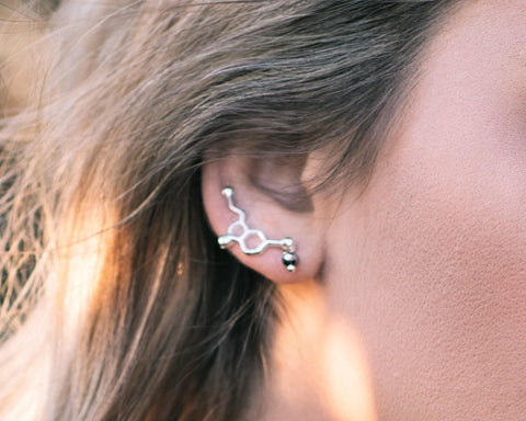 Serotonin Molecule Ear Climber Earrings
