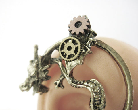 Steampunk Dragon Ear Cuff Wrap Earring