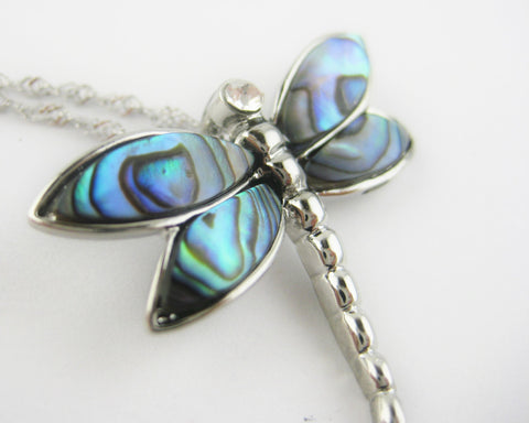 Abalone Shell Dragonfly Necklace