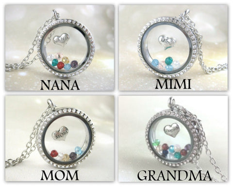 Personalized Grandma Birthstone Locket Necklace