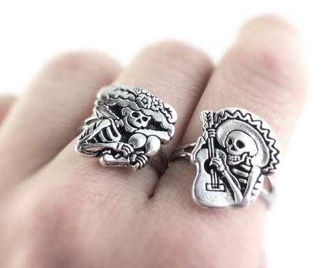 Set of 2 Sugar Skull Rings