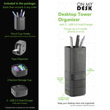 OMD16001 Desktop Tower Organizer - Pencil Cup | Tape Dispenser With USB 2.0 Hub/Charger - Charges 2 USB Devices, Black