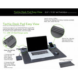 "On My Desk OMD15126 17.25"" x 25.5"" Easy View Techie Desk Pad ""Easy View"" integrated 4 port 3.0 USB Hub/Charger - Includes A/C AdapterFast USB Charging Black"
