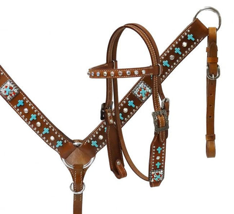 ST13149 Pony Turquoise Cross headstal/breastcollar set