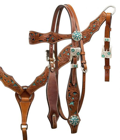 SST 1631 Floral Tooled Headstall Breastcollar Set