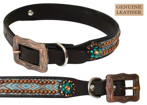 SST175821 Leather Aztec Dog Collar