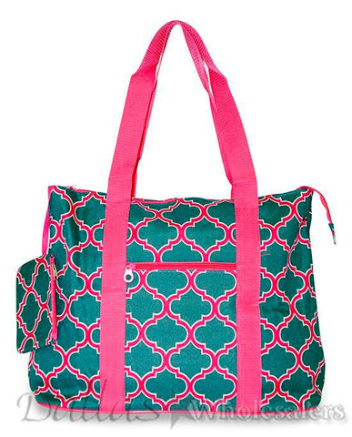 Pink/Grey Quatrefoil Tote Bag