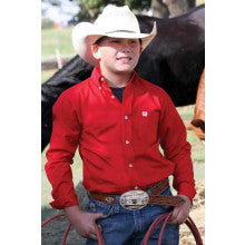 Kids Cinch Classic Fit Shirt Solid Red