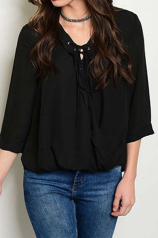 Women's Black Lace up Blouse