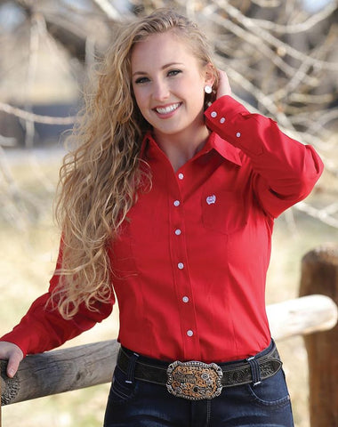 Womens Classic Fit Cinch Solid Red