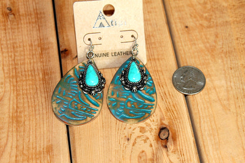 Leather teardrop Earrings with Turquoise