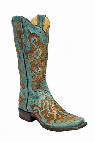 Ladies Tanner Mark TML43232 Iron Cross Inlay Boot