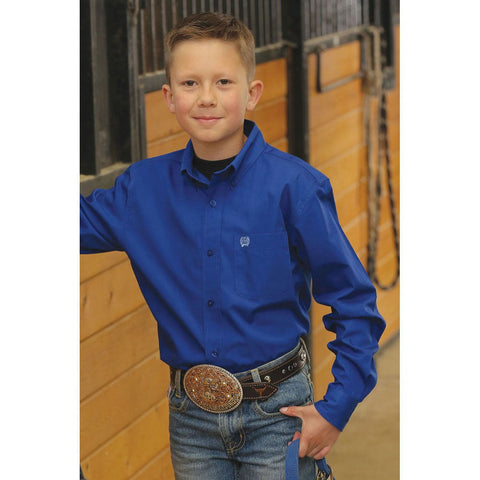 Kids Cinch Classic Fit Shirt Solid Blue