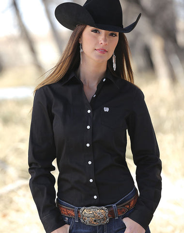 Womens Classic Fit Cinch Solid Black