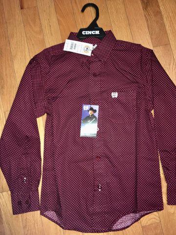 Boys Cinch Maroon Pattern Shirt