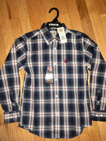 Boys Cinch maroon/blue plaid shirt