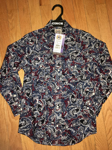 Boys Cinch Maroon Paisley Shirt