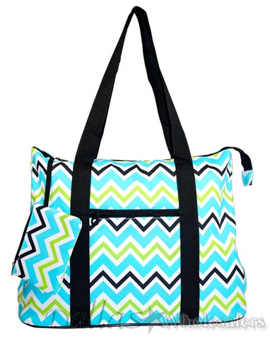 Blue Green Chevron Tote Bag Purse