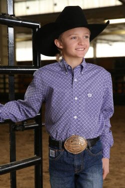 Boys Purple cinch shirt