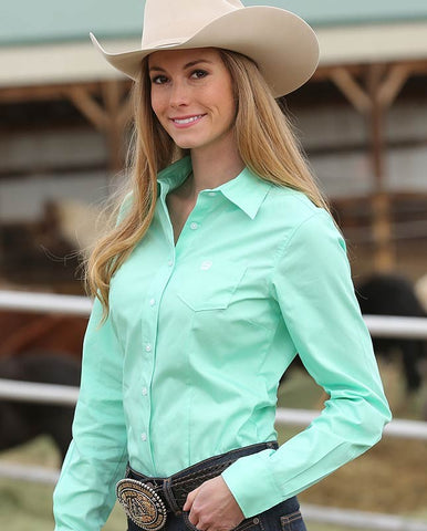 Womens Classic Fit Cinch Solid Mint Green