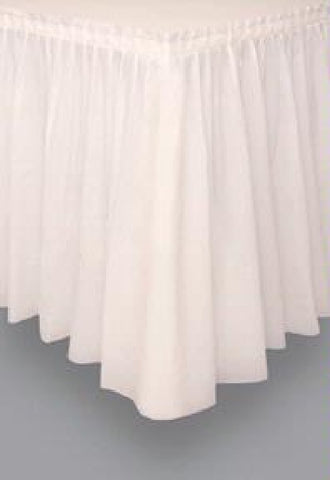 CREAM PLASTIC TABLESKIRT