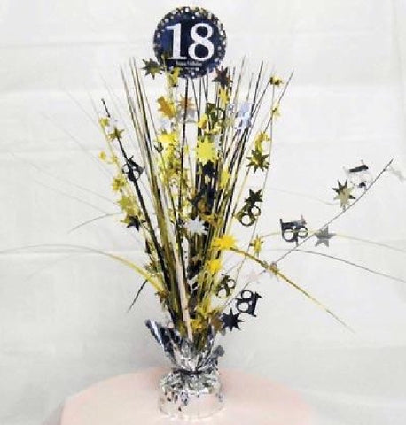 18TH SPARKLES BLACK & GOLD CENTREPIECE