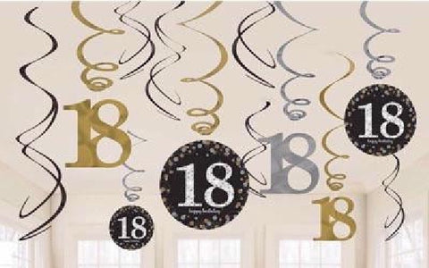 12PK 18TH BIRTHDAY GOLD SWIRLS