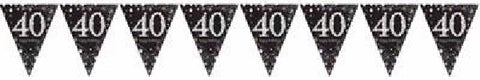 BLACK SPARKLES AGE 40 BUNTING