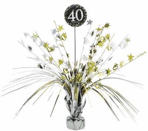 40TH SPARKLES BLACK & GOLD CENTREPIECE