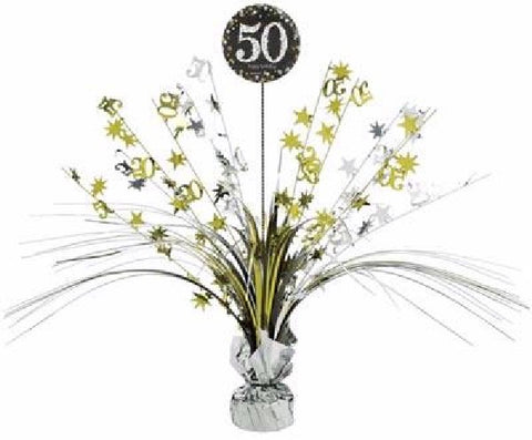 50TH SPARKLES BLACK & GOLD CENTREPIECE