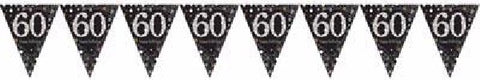 BLACK SPARKLES AGE 60 BUNTING