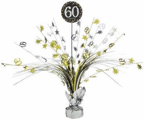 60TH SPARKLES BLACK & GOLD CENTREPIECE
