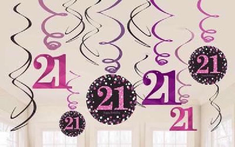 12PK 21ST BIRTHDAY PINK SWIRLS