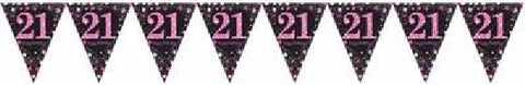 PINK SPARKLES AGE 21 BUNTING