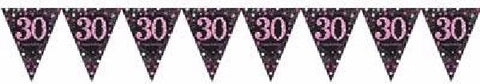 PINK SPARKLES AGE 30 BUNTING