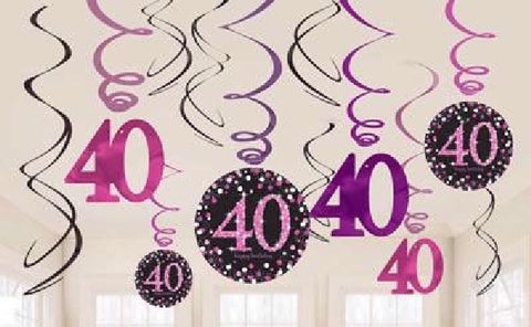 12PK 40TH BIRTHDAY PINK SWIRLS