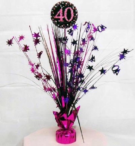 40TH PINK SPARKLES CENTREPIECE