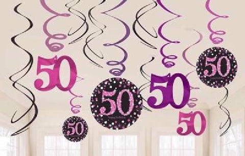 12PK 50TH BIRTHDAY PINK SWIRLS