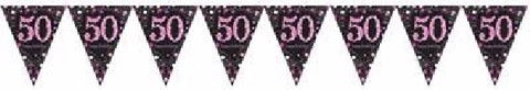 PINK SPARKLES AGE 50 BUNTING