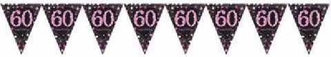 PINK SPARKLES AGE 60 BUNTING