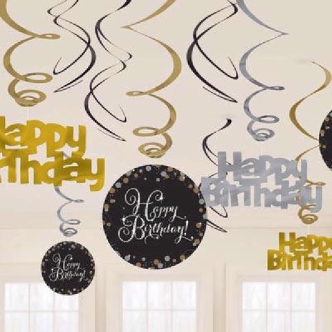12PK HAPPY BIRTHDAY GOLD SWIRLS