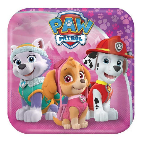 8PK 7IN PAW PATROL GIRL SQ PLATES