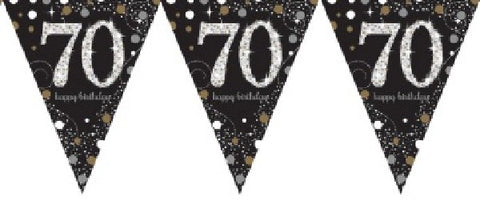BLACK SPARKLES AGE 70 BUNTING