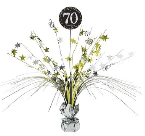 70TH SPARKLES BLACK & GOLD CENTREPIECE