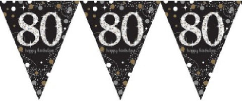 BLACK SPARKLES AGE 80 BUNTING