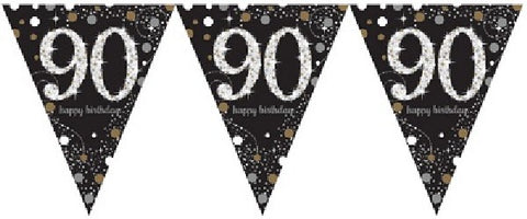 BLACK SPARKLES AGE 90 BUNTING