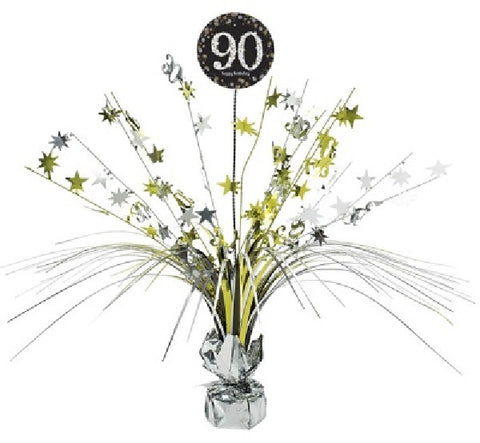 90TH SPARKLES BLACK & GOLD CENTREPIECE